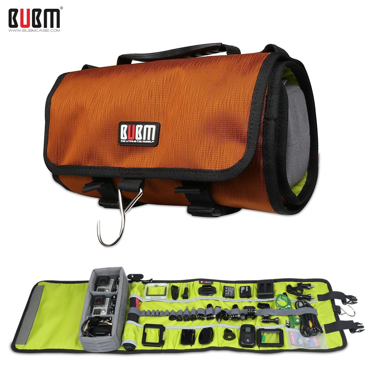 BUBM Large Canvas Travel Roll Bag Camera Rollup Protective Case for GoPro Hero4/3+/3 sj4000 , Camera Accessories Rollup Shoulder Bag for GoPro Cameras and Accessories(Orange)