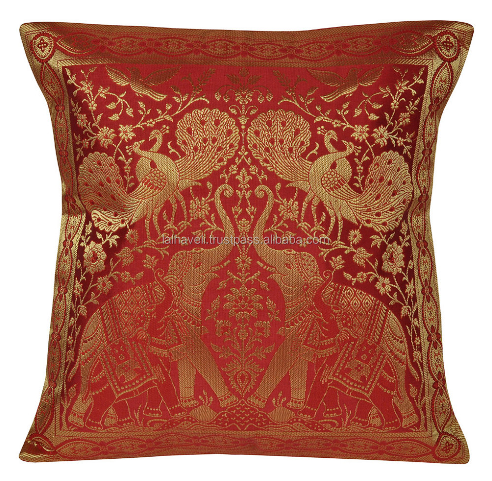 Enjoyable Traditional Decorative Brocade Design Silk Brown 20 X 20 Inzonedesignstudio Interior Chair Design Inzonedesignstudiocom