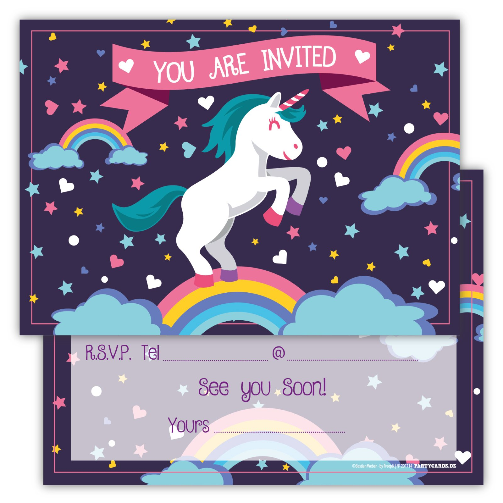 Get Quotations Funny Birthday Invitations Pack Of 12 Cards For Boys Girls Kids Unicorn Rainbow Clouds Stars
