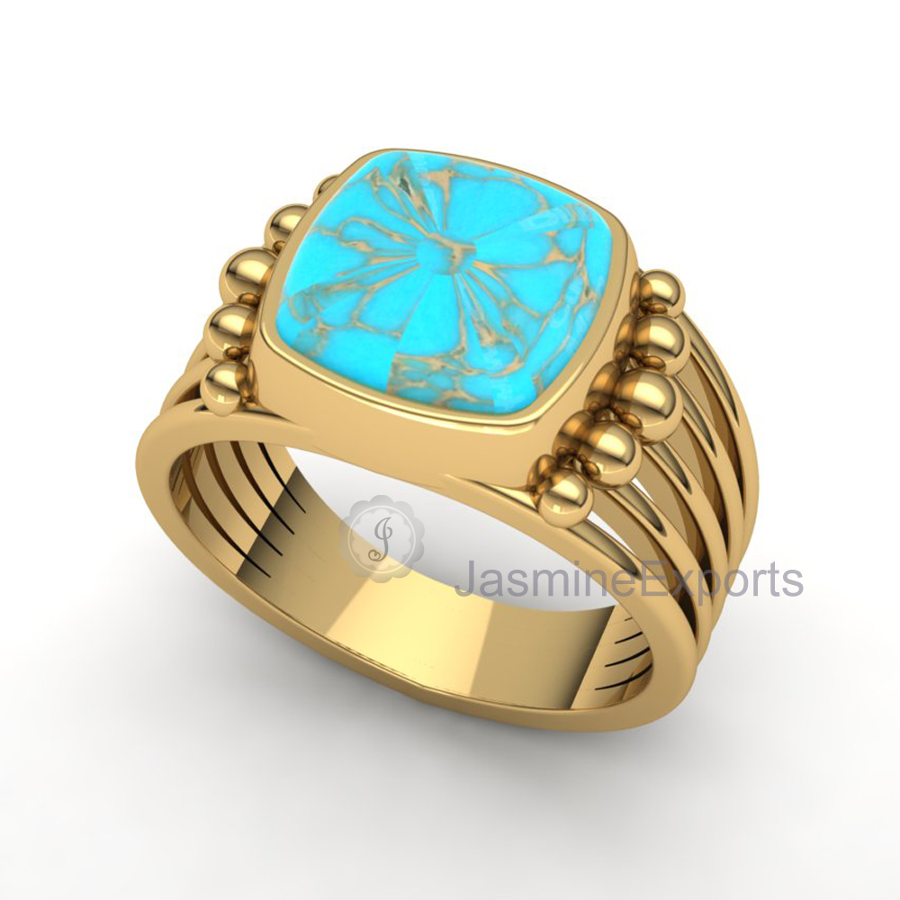 Handmade Tibetan Turquoise Gemstone Ring, 18k Gold Ring For Wholesale Supplier