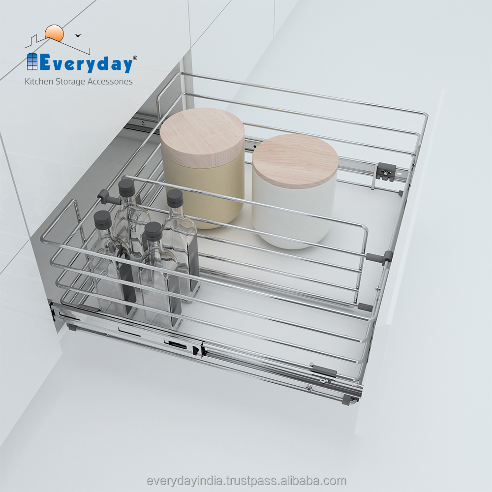 Full Extension Pull Out Kitchen Wire Basket Storage/ Slide Multi-purpose  Basket - Buy Cabinet Sliding Basket Wire Baskets,Pull Out Drawer Wire ...