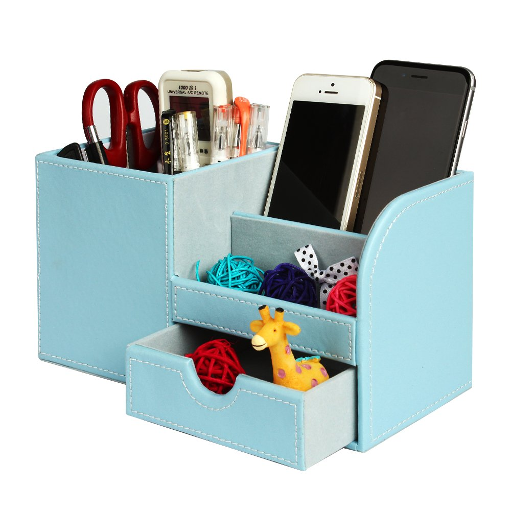 Leather Desk Organizer with Drawer, Juliell Multi-function Desk Storage Box Stationery Organizer Pen, Pencil, Name Cards, Cell Phone, Key, Remote Control Holder for Home, Office, School(Medium, Blue)
