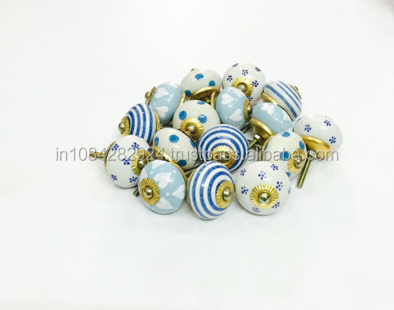 DIOS Blue Ceramic Door Knobs - Vintage Drawer Pulls