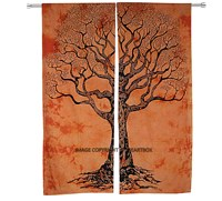 Orange Tree Of Life Cotton Printed Mandala Tapestry Curtain Door Window Room Decor Divider Curtain