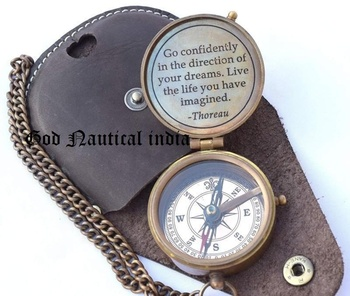 Thoreau'S Go Confidently Quote Engraved Compass With Stamped Leather
