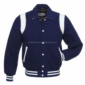 Cheap blue wool white stripe baseball varsity jacket/ wholesale online all over embroidery bomber varsity jacket/ sport jackets