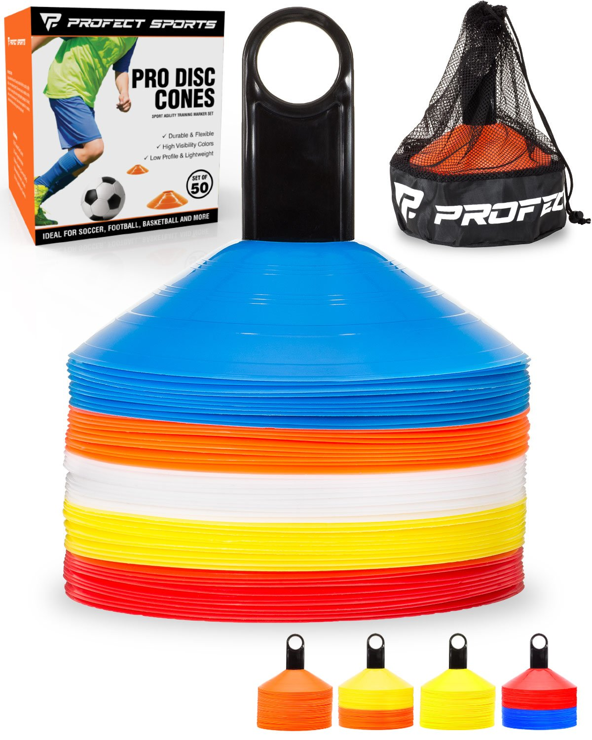 c4cd4536e Buy Pro Disc Cones (Set of 50) - Agility Soccer Cones with Carry Bag ...