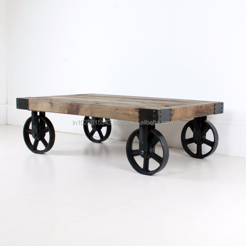 - Rustic-wheeled-walnut Industrial Coffee Table,French Industrial