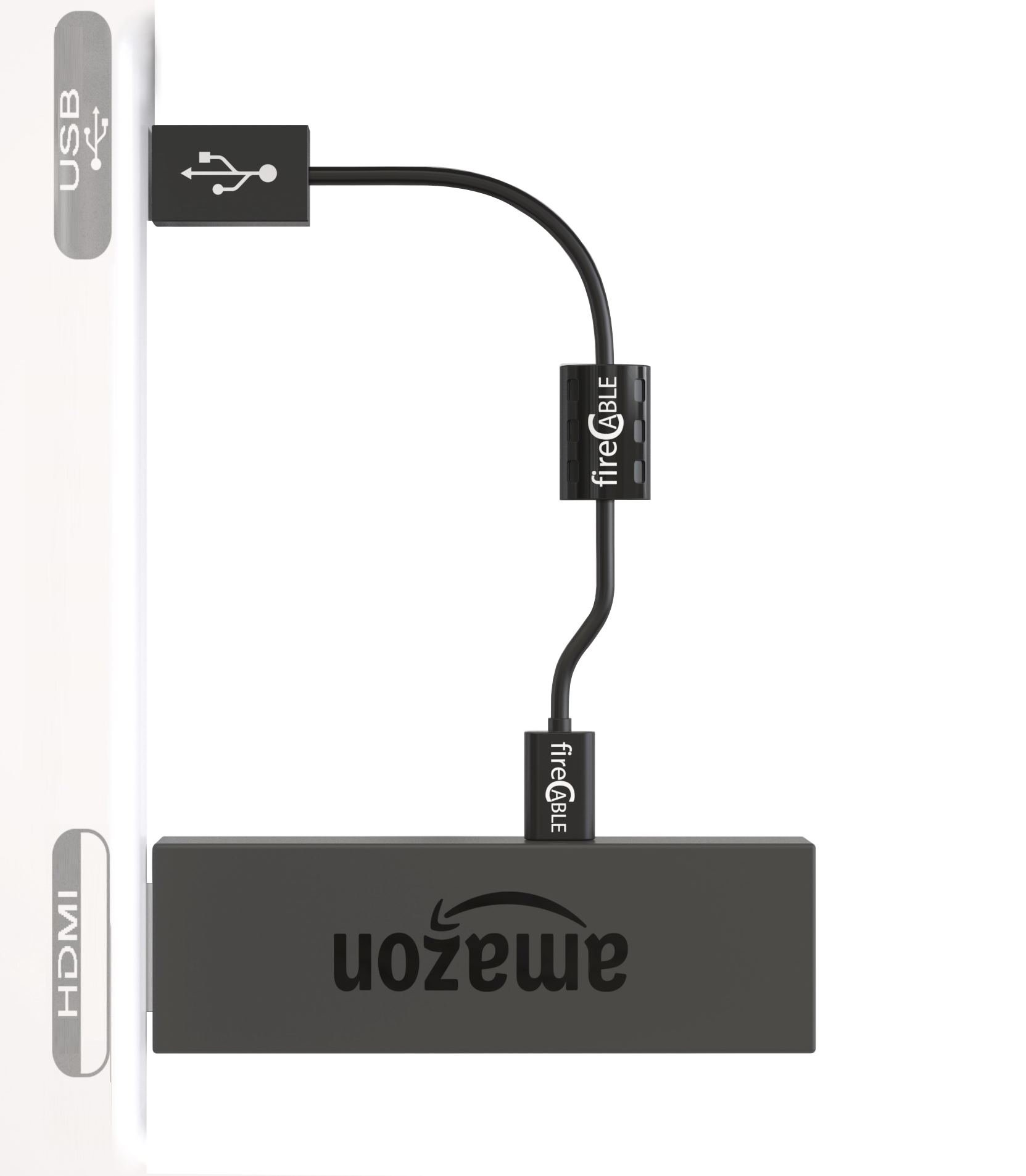 NEW fireCable PowerPlus USB Cable | Powers Any HDMI Streaming Device for TV from TV's USB for All Streaming Media Players, HDMI Streaming Sticks, Firestick, etc.. Perfect TV Wall Mount Accessory