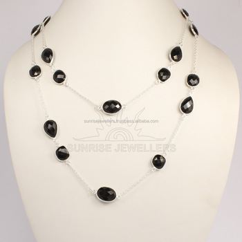 Manufacturer and exporter 925 Sterling Silver Natural BLACK ONYX Gemstone BEZAL Necklace 40 cm, 50, 60, 75, 90 cm