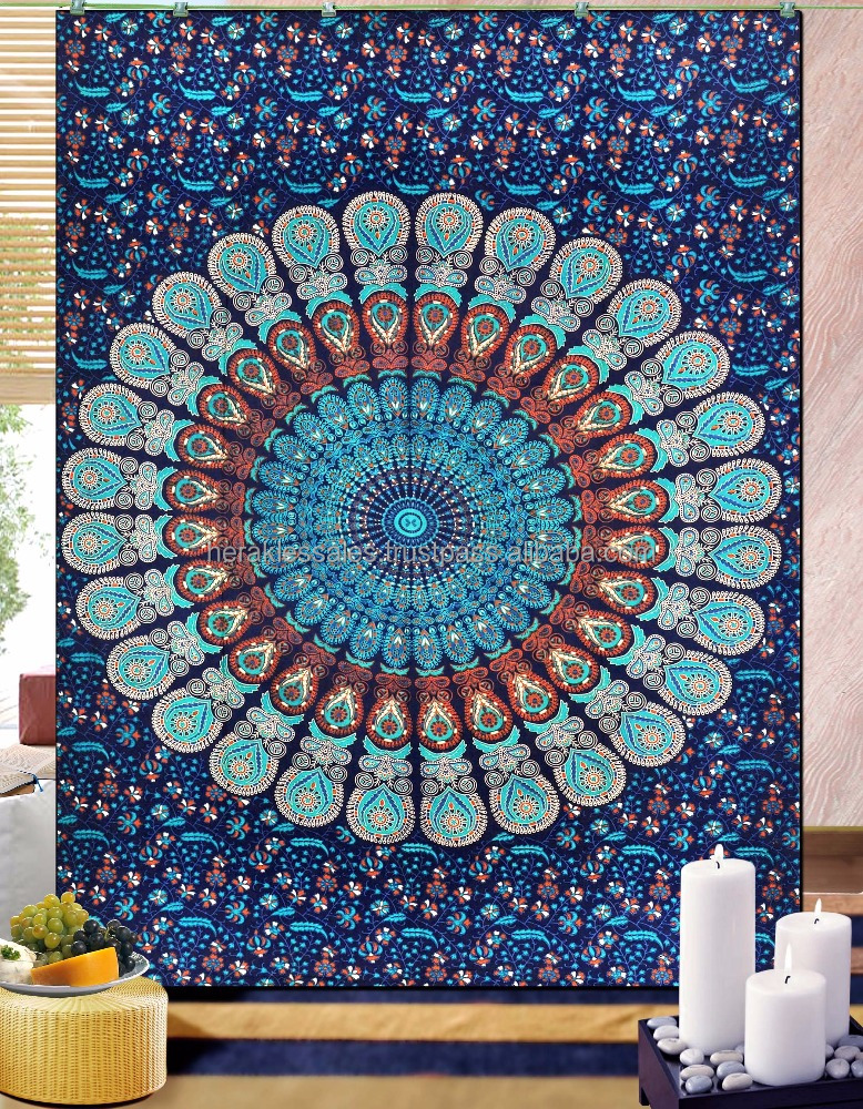100% cotton mandala mahali medallion tapestry bohemian style plain used as wall hanging, beach towel, table cloth