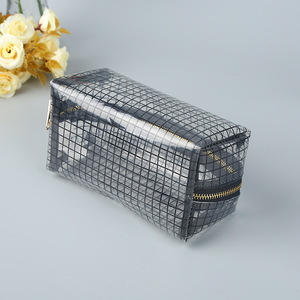 China wholesale travel transparent lattice pvc toilet cosmetic bag clear makeup pouch
