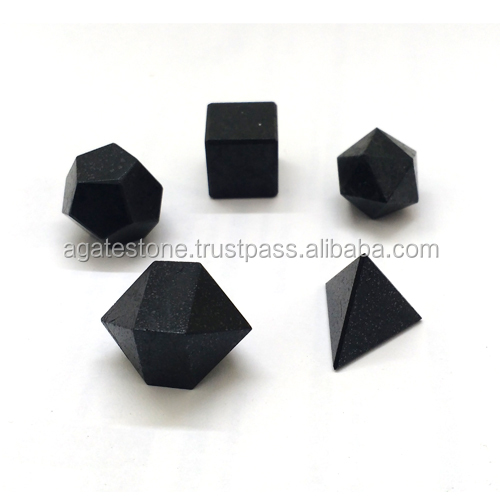 Black Tourmaline Gemstone Crystal Quartz 5pcs Agate Geometry Set