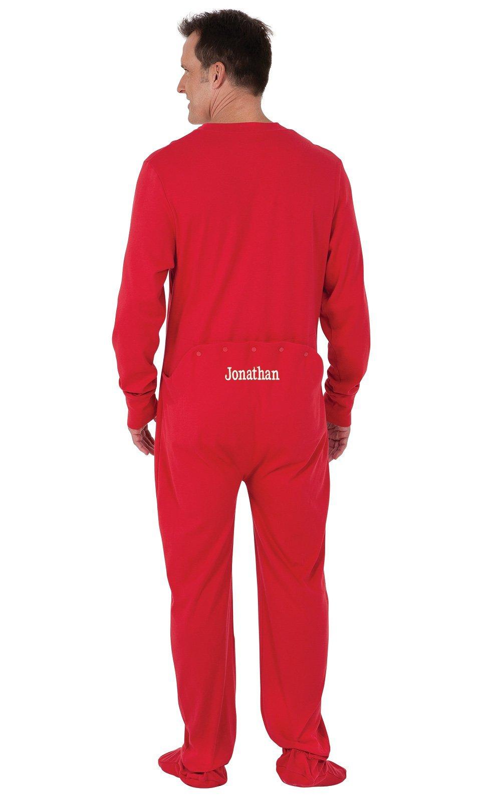 c579e22dab Get Quotations · PajamaGram Personalized Men s Cotton Dropseat Footie  Pajamas