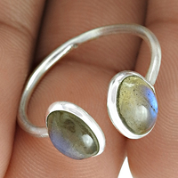 Natural blue stone rings 925 sterling silver rings wholesale jewelry handmade fine silver rings exporters