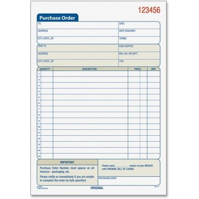Tops 46141 Purchase Order Book, 5-9/16 x 7 15/16, Three-Part Carbonless, 50 Sets/Book