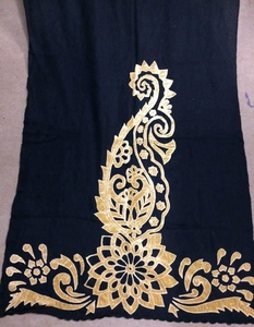 Velvet Decorated Shawl in Pashmina Cashmere Wool