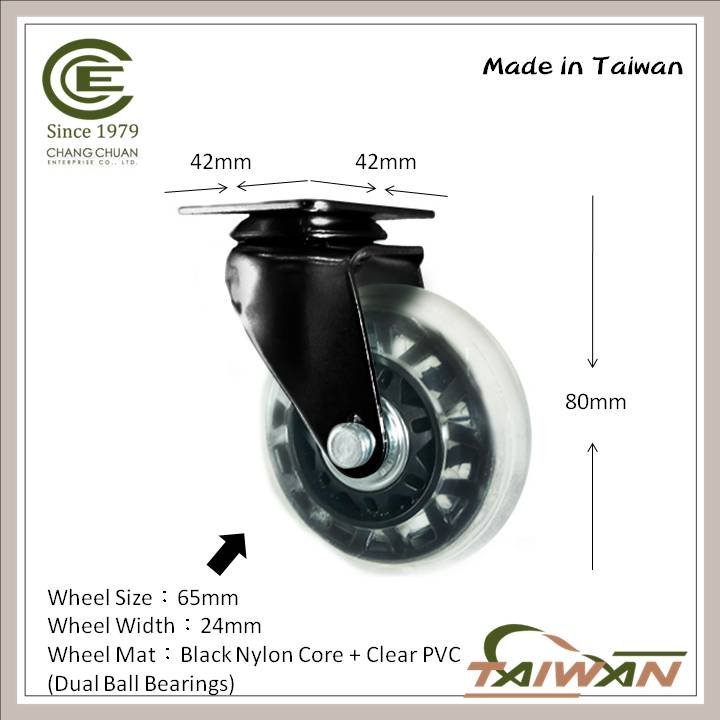2.5 Inch PVC Swivel Removable Caster Wheels