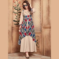 Double Layer Ankle Length Rayon And Cotton Gown Style Designer Kurtis Collection