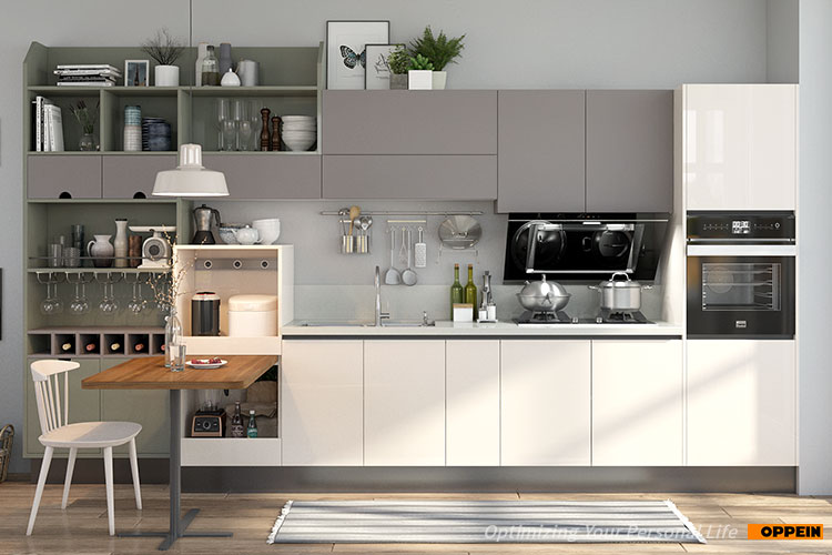 OPPEIN plywood doors simply white gray lacquer straight line small kitchen cabinets designs