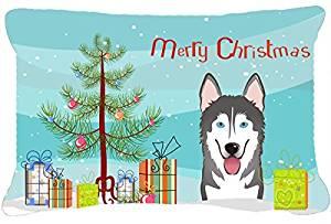Caroline's Treasures Christmas Tree & Alaskan Malamute Fabric Decorative Pillow, Large, Multicolor
