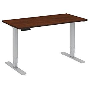 "Bush Sit Stand Desk Dimensions: 48""W X 24""D Height Range 23"" Low - 49""H Used In Training Rooms, Multipurpose Rooms/As Replacement For Large Office Desk - Hansen Cherry/Cool Grey Metallic"