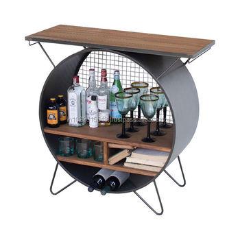 Round Bar Cabinet Antique Wood