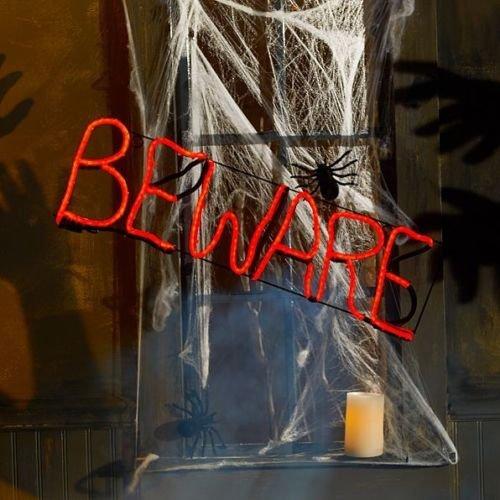 "Lighted Flickering Halloween Short Circuit Beware Sign Halloween Window Decoration 24-1/2""W x 1-1/2""D x 7-3/4""H"