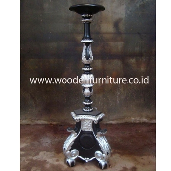 Antique Reproduction Wooden Accessories French Style Baroque Candle Holder Vintage European Home Furniture