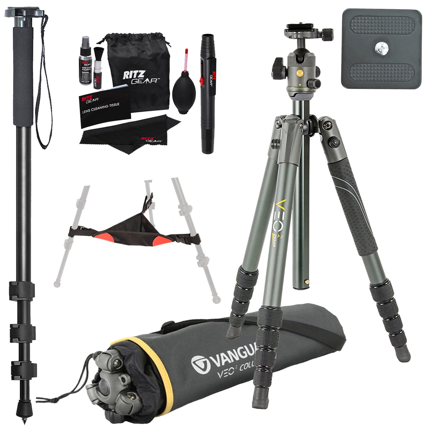 Vanguard VEO 2 265AB Aluminum Tripod with VEO 2 BH-50 Ball Head, Ritz Gear Tripod Stone Bag, 72-Inch Monopod with Quick Release and Ritz Gear Cleaning Kit