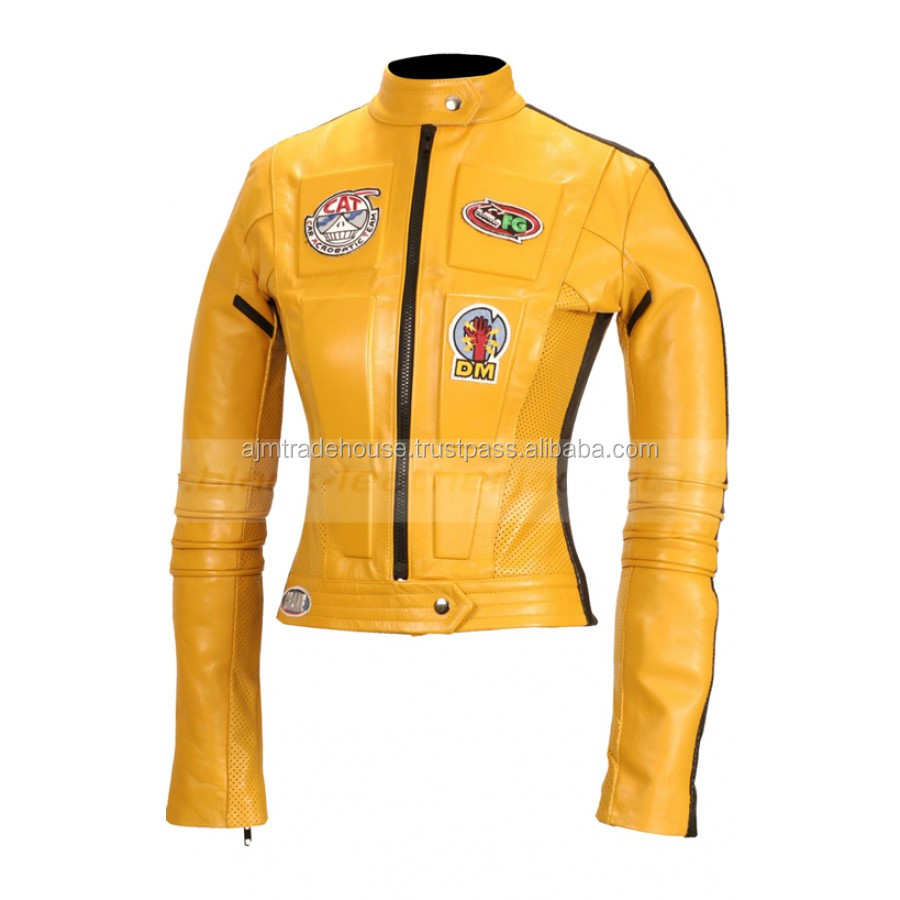 WOMENS KILL BILL SLIM FIT CE ARMOUR MOTORBIKE MOTORCYCLE LEATHER JACKET SUIT