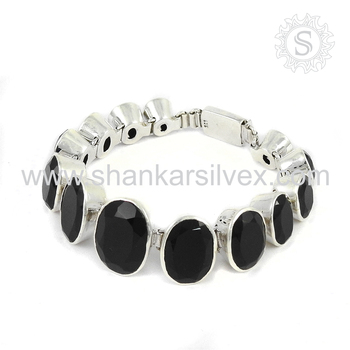 Beautiful black onyx gemstone bracelet handmade 925 sterling silver jewelry bracelets wholesale