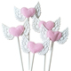 Lovely Angel Wings Pink Heart Cake Topper for Girl Birthday Party Wedding Baby Shower Cupcake Topper Kit