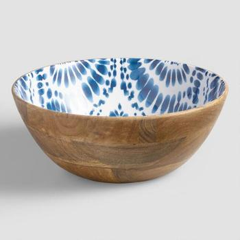 Wholesale Unfinished Wood Shaving Bowls With Blue Printed Enamel View Wood Nut Bowl With Cracker Acme Exports Product Details From Acme Exports On