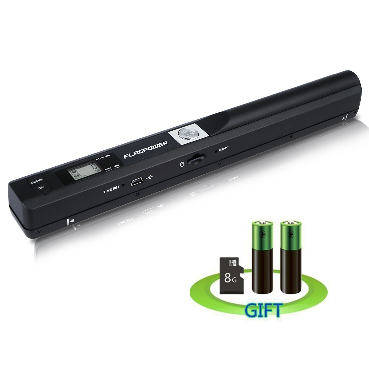 FLAGPOWER 900DPI Solutions Magic Wand Portable Scanner Handheld Wireless Document & Image Scanner USB Mobile Scanner (Included 8G Micro SD Card and Two AA Battery)