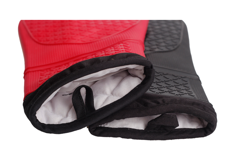 High quality In stock non stick long oven mitts heat resistant silicone gloves with quilted liner
