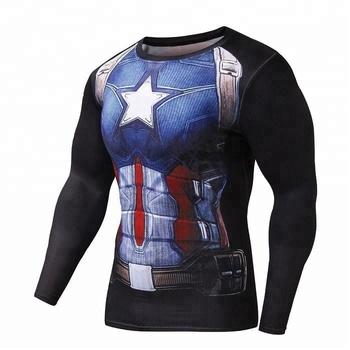 Capitão América Preto Camisa De Manga Longa De Compressão Rash Guard Camisa  de Compressão e96c48732cc87