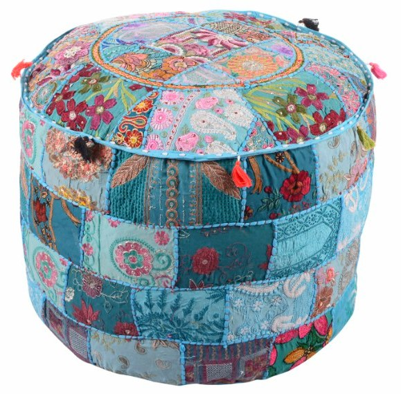Provided Embroidered Patchwork Pouf Stool Round Ottoman Poufs Cover Ottomans, Footstools & Poufs Home & Garden