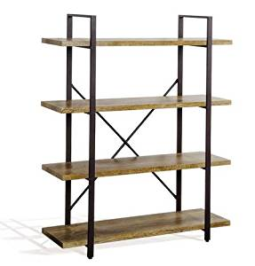 K&A Company Modern Industrial Style Shelf Bookcase 4 Bookshelf Storage Wood Shelves Display Home Office 41.3 x 12.7 x 54.9 inches brown.