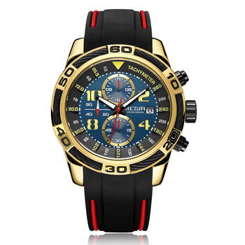 MEGIR-2045 Men's Rubber Band Quartz Watch Two Small Plates of Calendar Running Second Waterproof Watch for Men