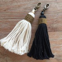 Keychain with Cotton Yarn Tassels
