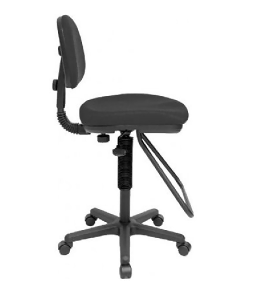 Alvin CH202 Studio Artist/Drafting Chair, Black; Functional, economical chair for studio use; Pneumatic height control, polypropylene seat and back shells, a height- and depth-adjustable hinged backrest