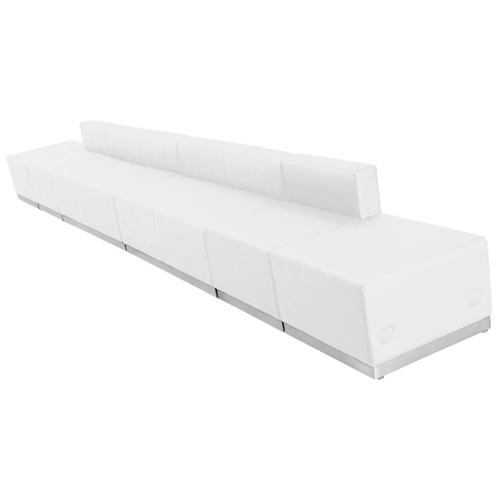 "Alon Series Benched Reception Seating in Bonded Leather - Six Piece Set Dimensions: 204.50""W x 25.50""D x 27""H Weight: 260 lbs White Bonded Leather/Brushed Stainless Steel Base"