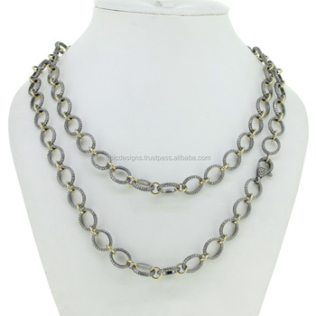 Pave Diamond New Designer Link Chain Necklace, Wholesale 925 Silver Chain Necklace Jewelry For Women