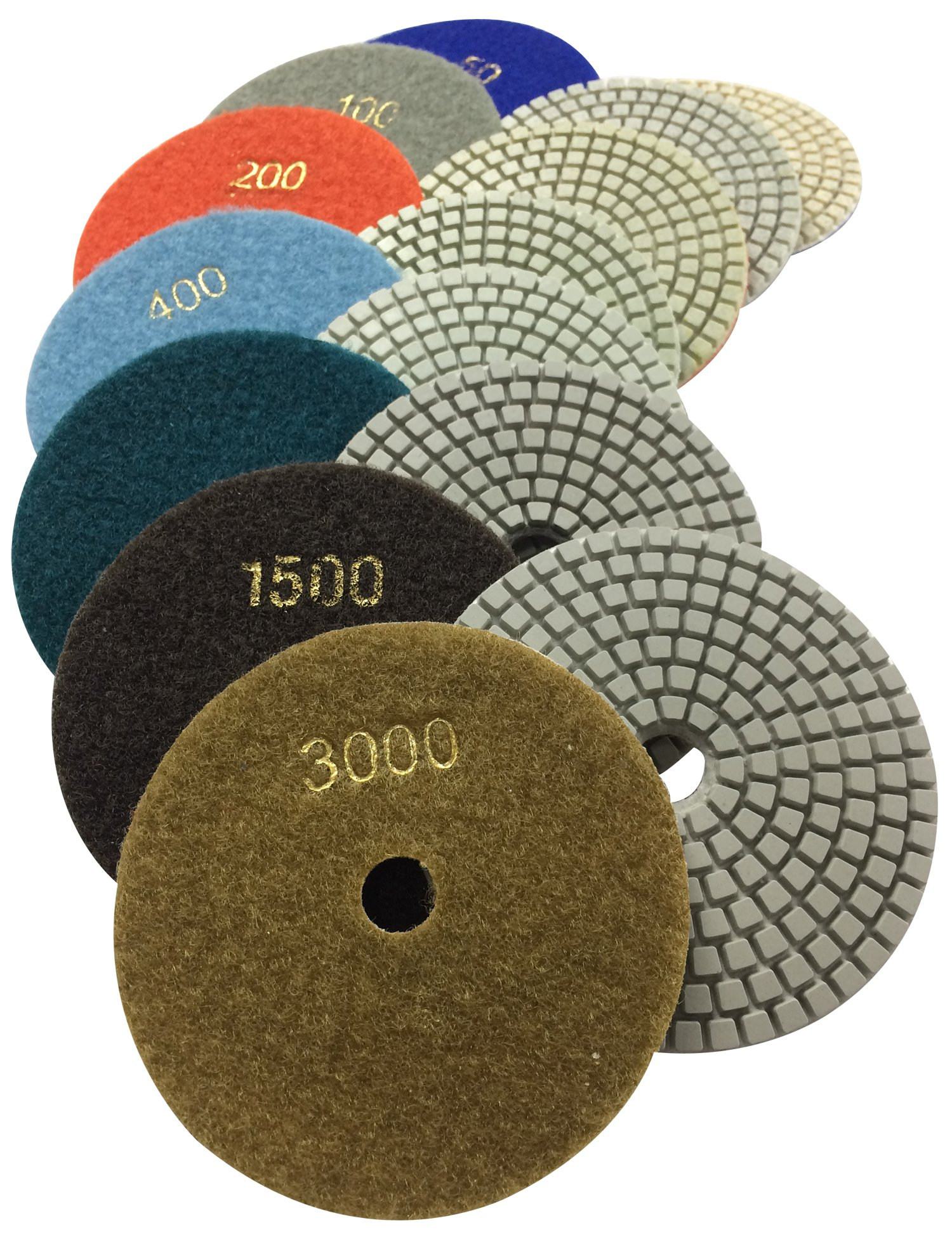 "Konfor Diamond Polishing Pads 4"" Wet Use for Sanding Marble Granite Stone Concrete Travertine Polish Pack of 7 Grit 50 - 3000"