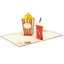Popcorn Pop Up Card/ wholesale factory manufacture pop up 3d laser cutting paper handmade happy birthday greeting card
