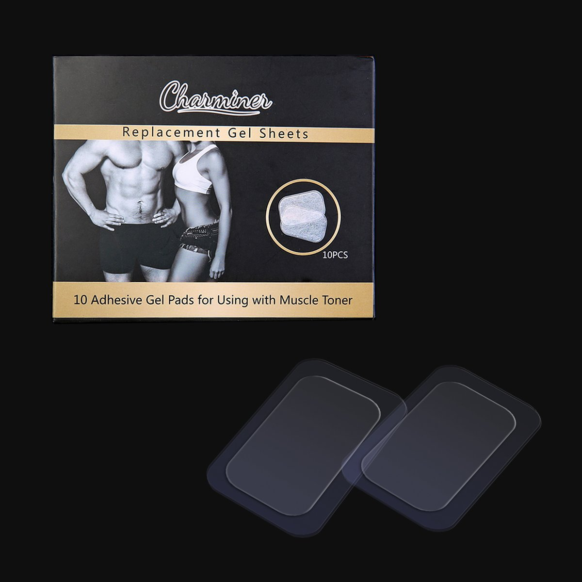 Abs Toner Replacement Gel Sheet,Charminer Abdominal Toning Belt Muscle Toner Abs Trainer Accessories High Conductive Gel Sheets For Gel Pads( 2pcs/packs, 5packs/box)