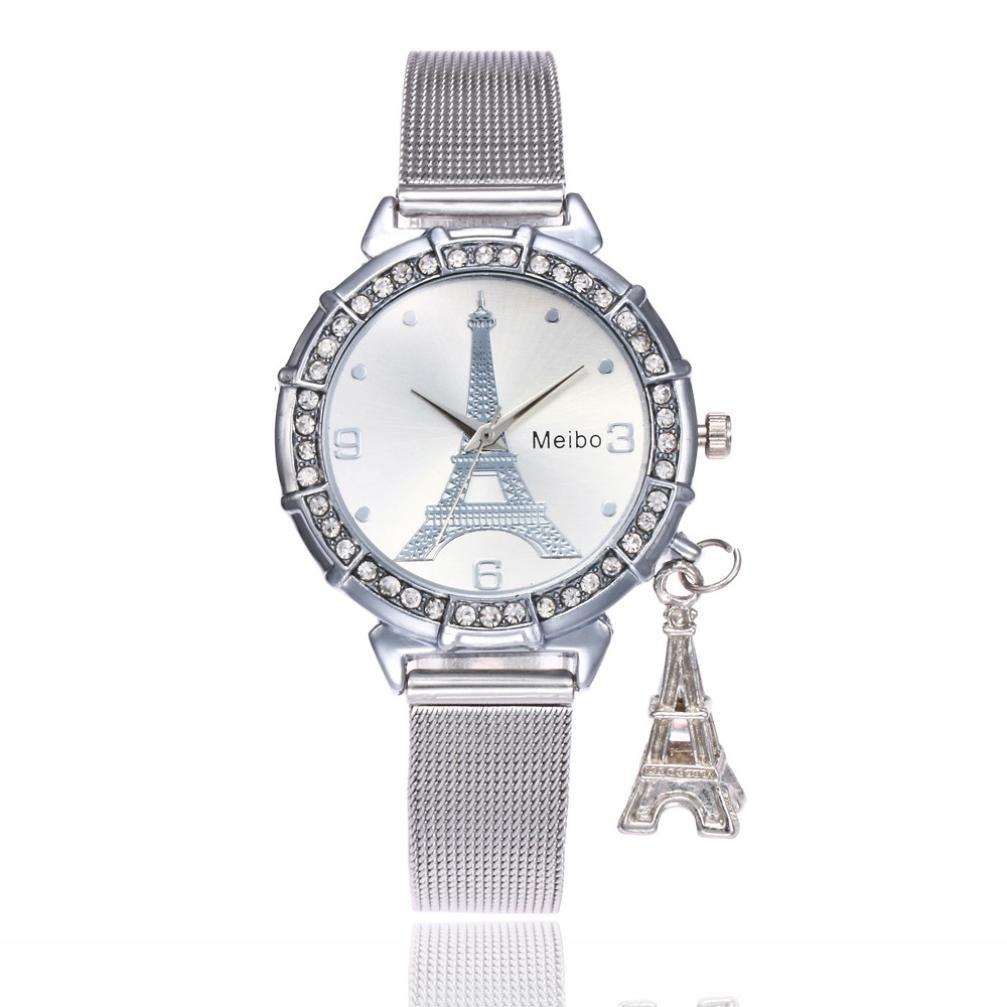 Eiffel Tower Pendant Watches,Hemlock Women Girls Stainless Steel Rhinestone Wrist Watch (Silver)