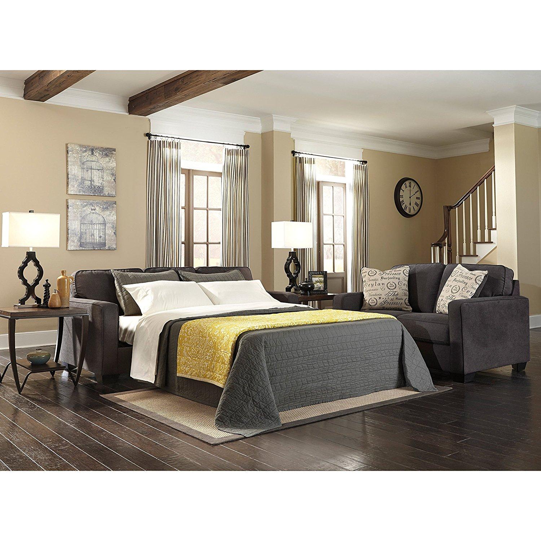 Ashley Furniture Signature Design Alenya Sofa With 2 Throw Pillows Microfiber Upholstery Vintage Casual Quartz