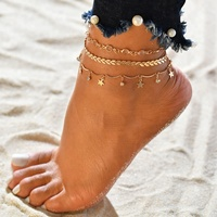 summer fashion design 3 pieces jewelry ladies star gold anklet